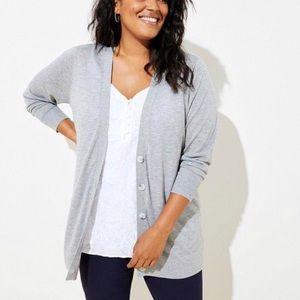 LOFT NWT wool blend grey button up cardigan XS